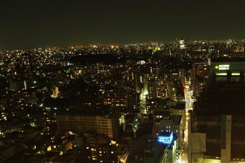 文京シビックセンターから見る白山・駒込方面の夜景