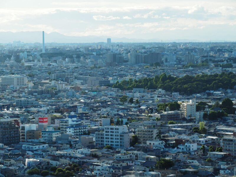 キャロットタワー展望ロビーから見た世田谷・多摩方面の眺望