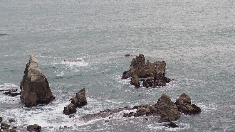 犬吠埼の荒磯に波
