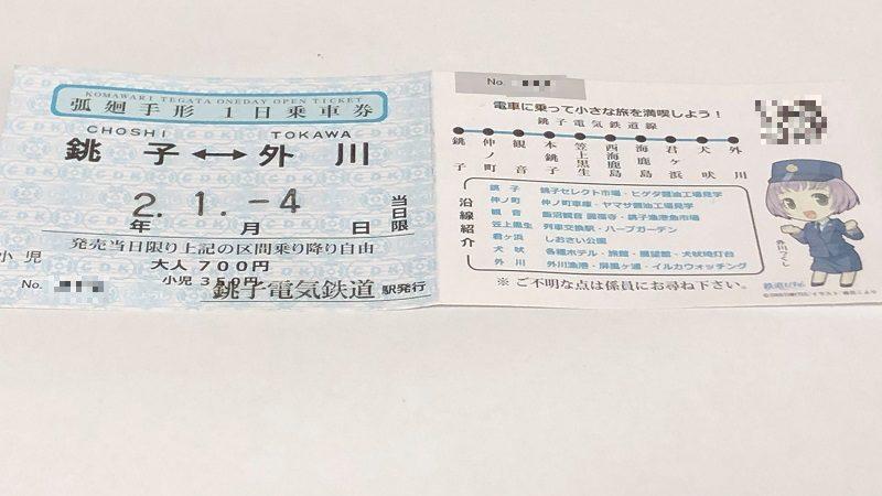 銚子電鉄1日乗車券弧廻手形