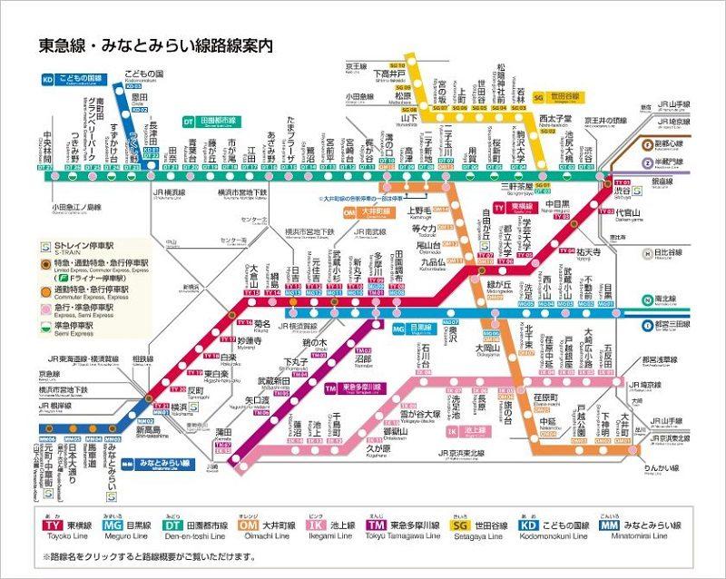 東急線・みなとみらい線路線図