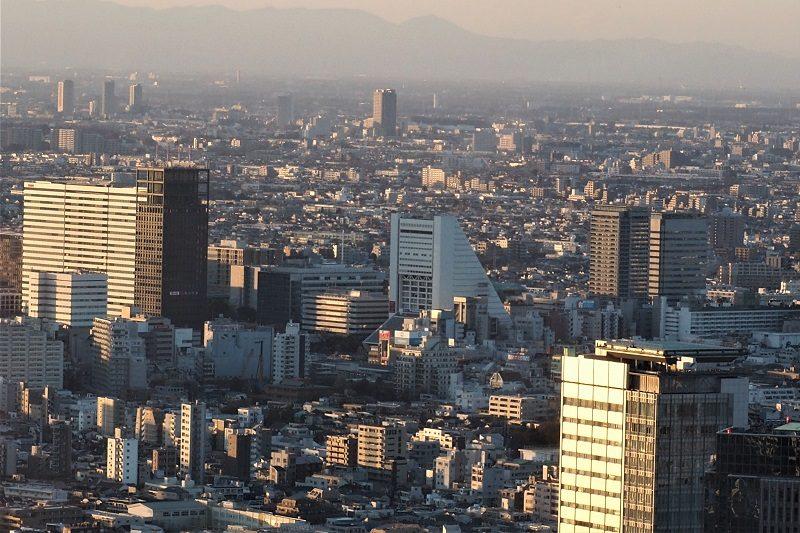 東京都庁北展望室から見る中野サンプラザ