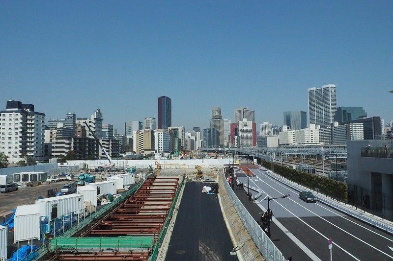 高輪ゲートウェイ駅から見る田町駅方面の眺望