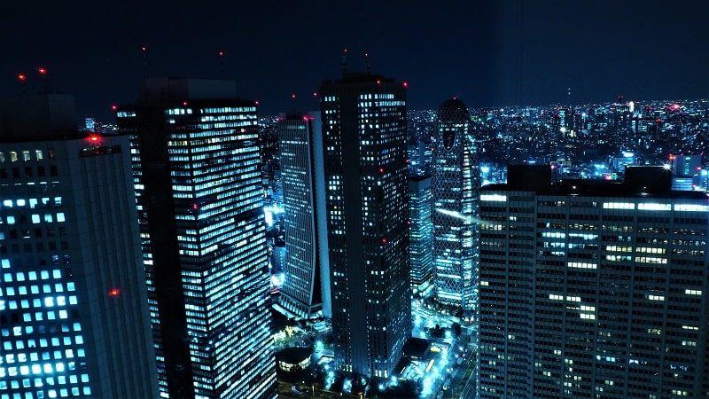 東京都庁北展望室から見る夜景