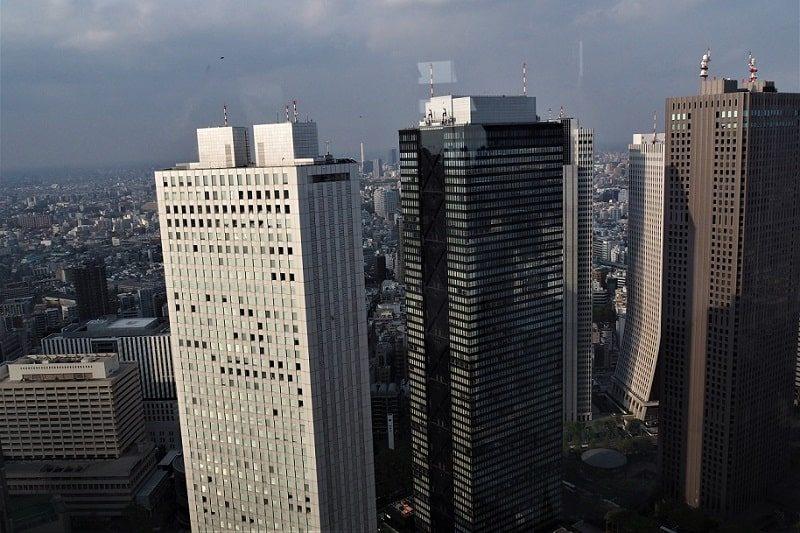 東京都庁から見る新宿三井ビル、新宿住友ビル、新宿センタービル