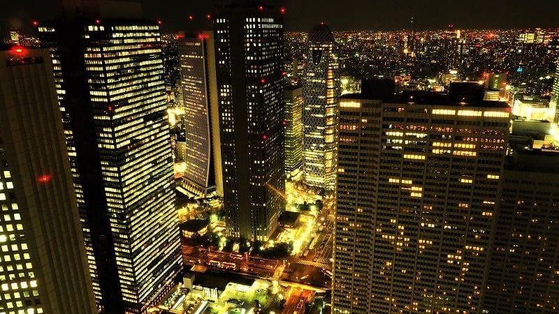 東京都庁北展望室から見る夜の新宿副都心