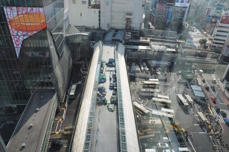 渋谷ヒカリエスカイロビーからみた渋谷駅周辺