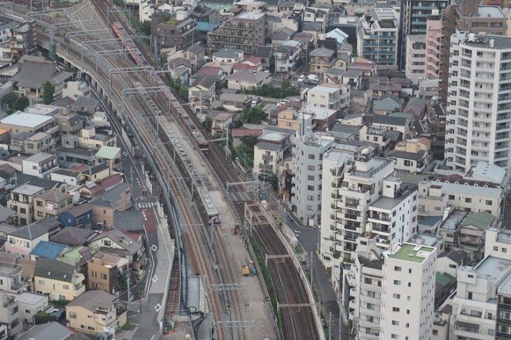 東京スカイツリーイーストタワーから見る東武スカイツリーライン