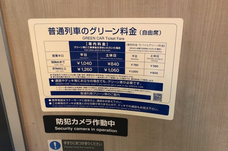 JR東日本普通列車のグリーン料金